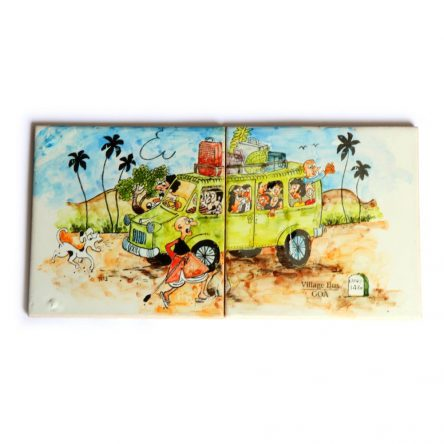Village Bus Goa Tile Painting (Combo of 2)